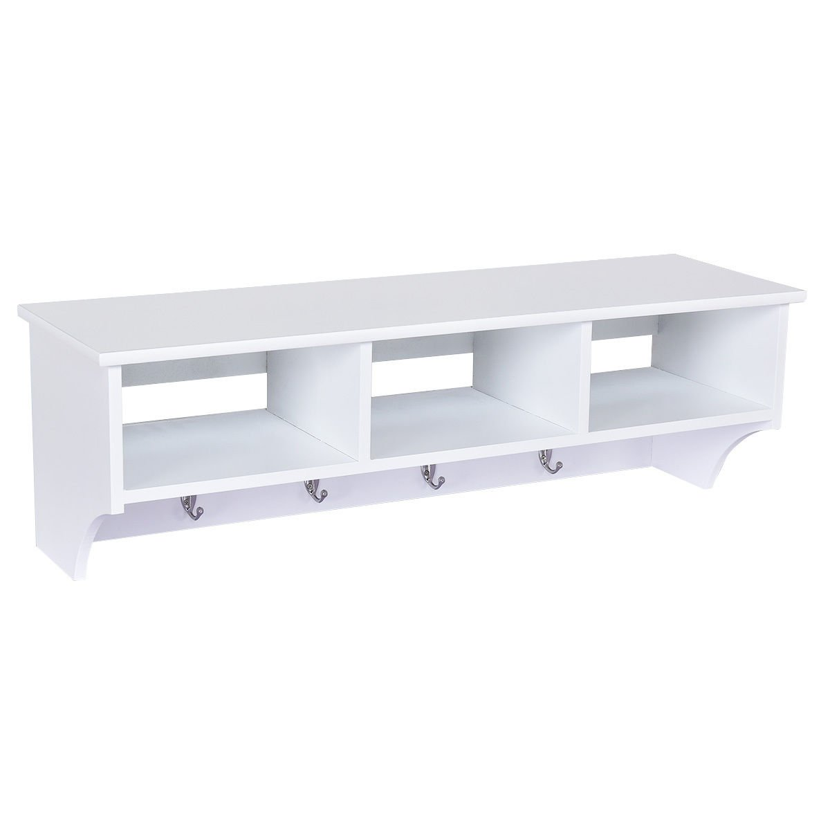 wall mounted floating shelves coat rack storage white shelf with hooks organizer hallway home kitchen movable trolley bathroom over sink cabinets utility table hanging desk drawer