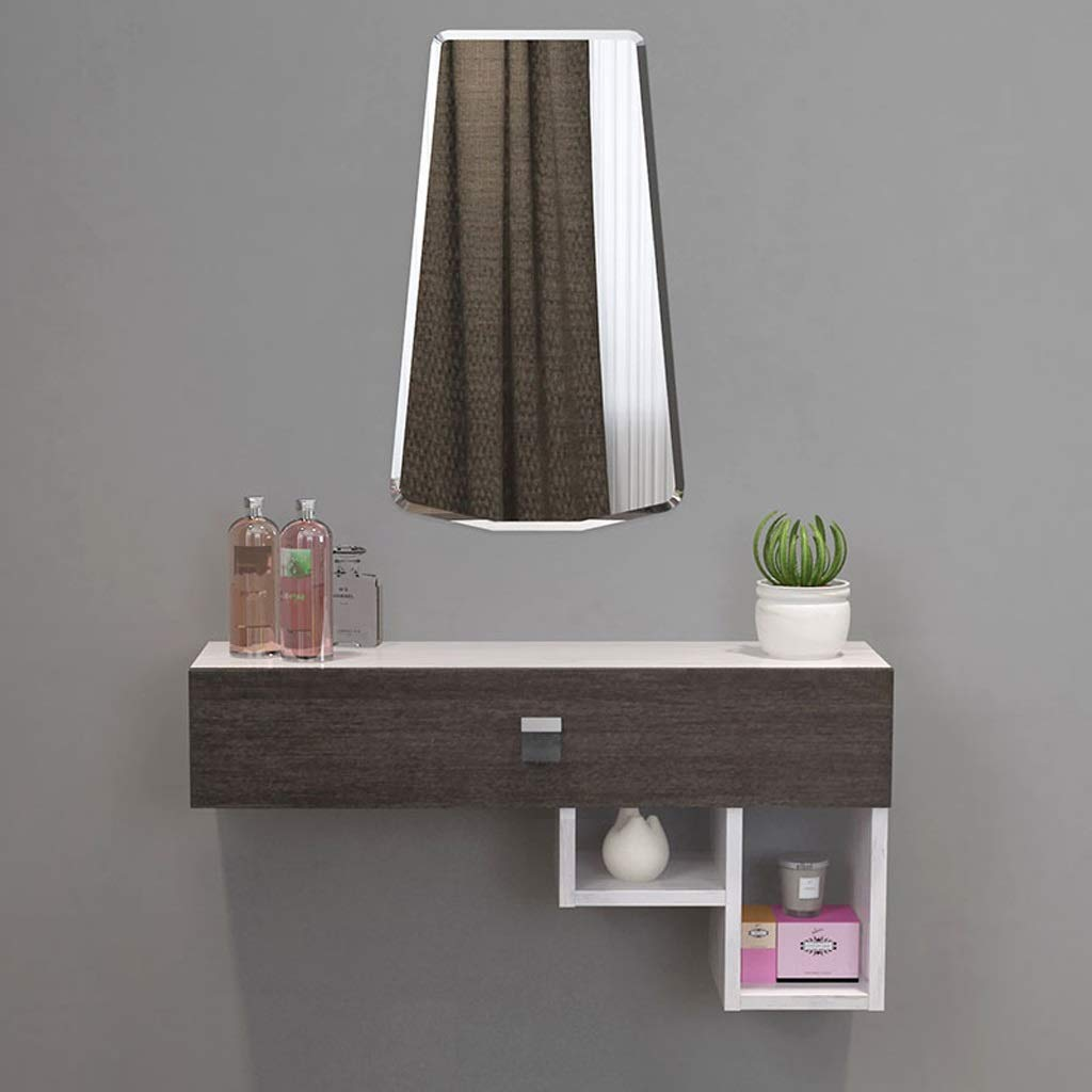 wall mounted makeup dressing table with drawer floating shelf cosmetic storage multifunctional display color grayish metal and wood standing coat rack bathroom under counter