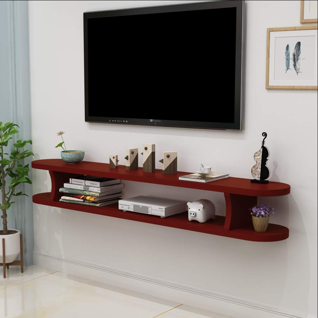 wall shelf floating mounted cabinet afnersl wood for cable box stand organization solid set top router storage color small open unit black iron corbels glass bathroom table