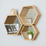 wall shelves and mounted shelving units notonthehighstreet original hexagon mirror floating box kitchen aisle oak mantel shelf glass clamps coat hooks baskets hafele products 150x150
