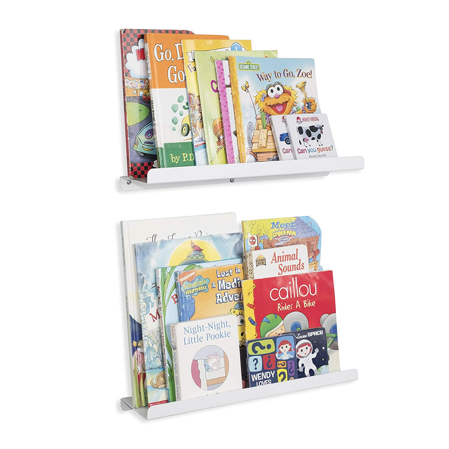 wallniture kids floating bookshelves nursery room decor bookcase display metal ledges inch set white home kitchen tree coat stand corona dressing table and stool ikea lack book