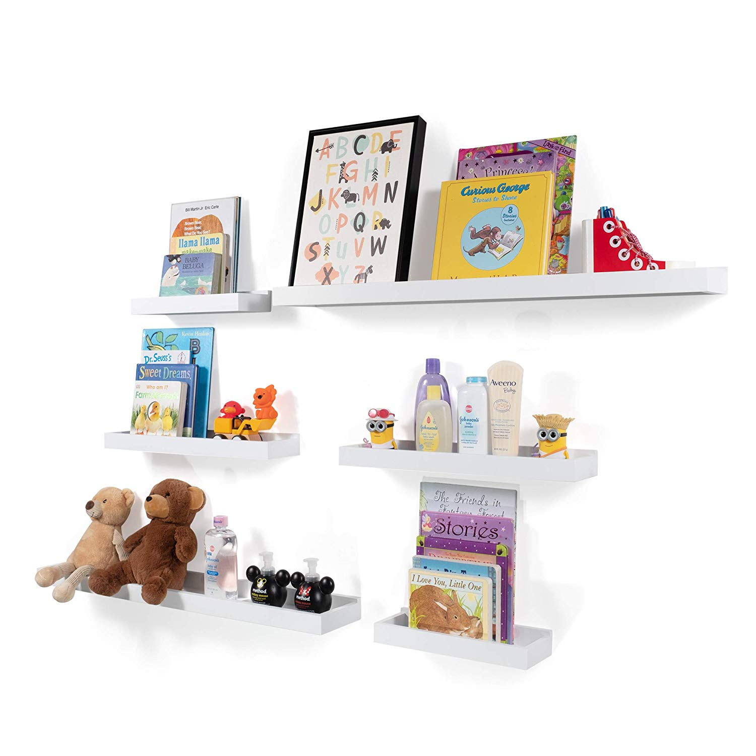 wallniture philly set varying sizes floating bookshelves nursery shelves trays and display bookcase modern wood shelving for kids room wall ikea shelf hack units bathroom ladder