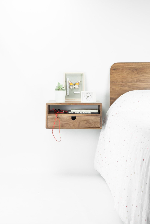 walnut floating nightstand bedside table drawer solid mid shelf habitables corner wall mount ikea hang artwork without nails dvd rack pottery barn mounting bracket garage