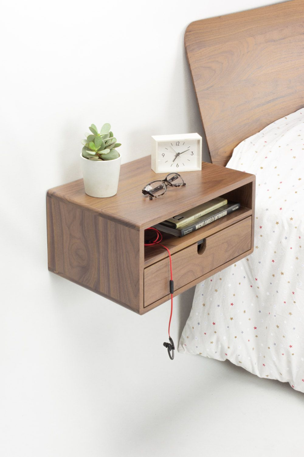 walnut floating nightstand bedside table drawer solid mid shelf habitables shelves for shoe storage pottery barn mounting bracket tall shelving unit metal rods vinyl tile layout
