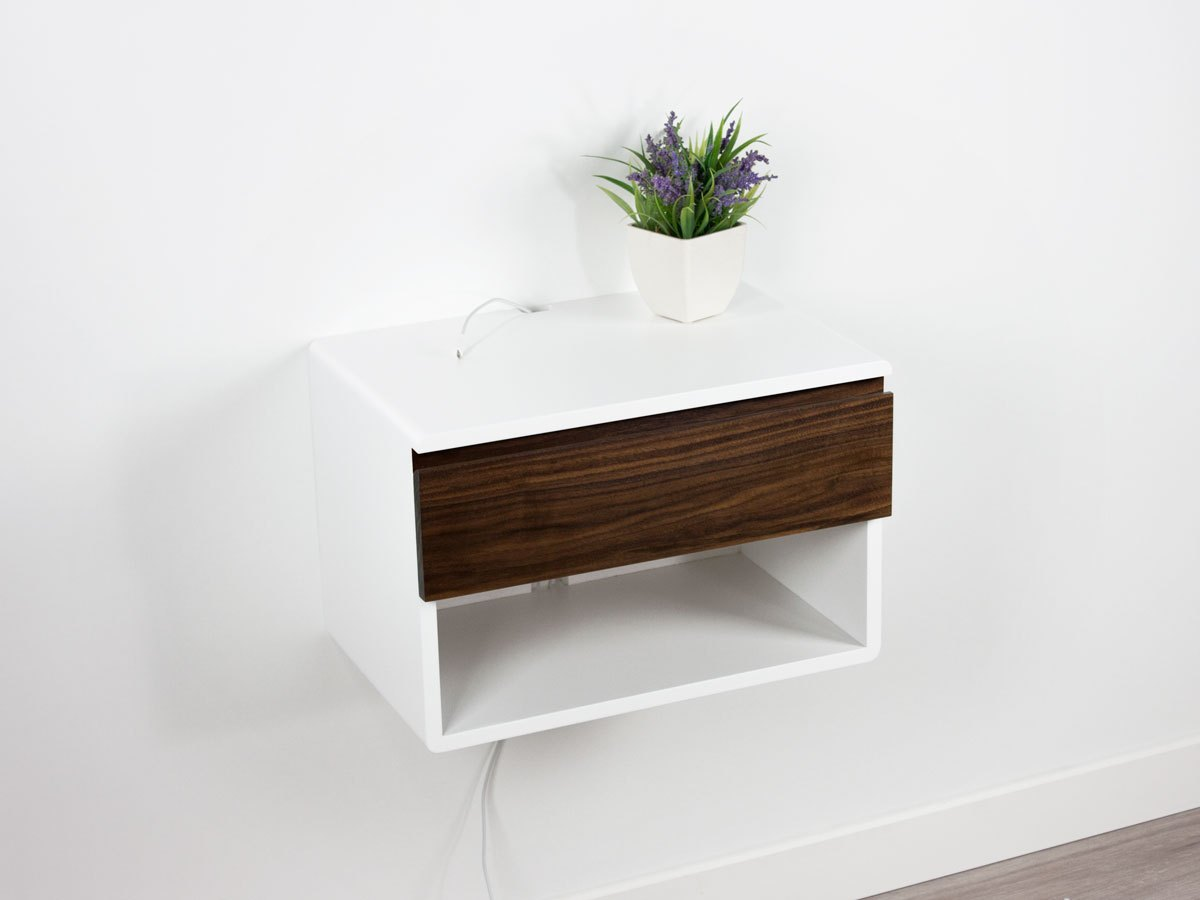 walnut floating nightstand one drawer shelf spark shell craft blance and blanca open contemporary wall mounted bookshelves corner kit wooden shelving units unique hanging shelves