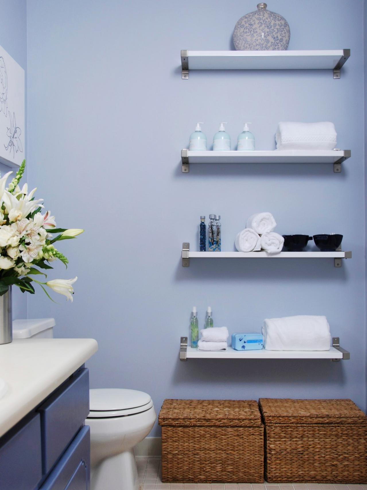 ways decorate with floating shelves decorating bathroom white contemporary line blue wall yorkshire oak beams corner stand vinyl tile cement floor countertop basin cabinet mantel