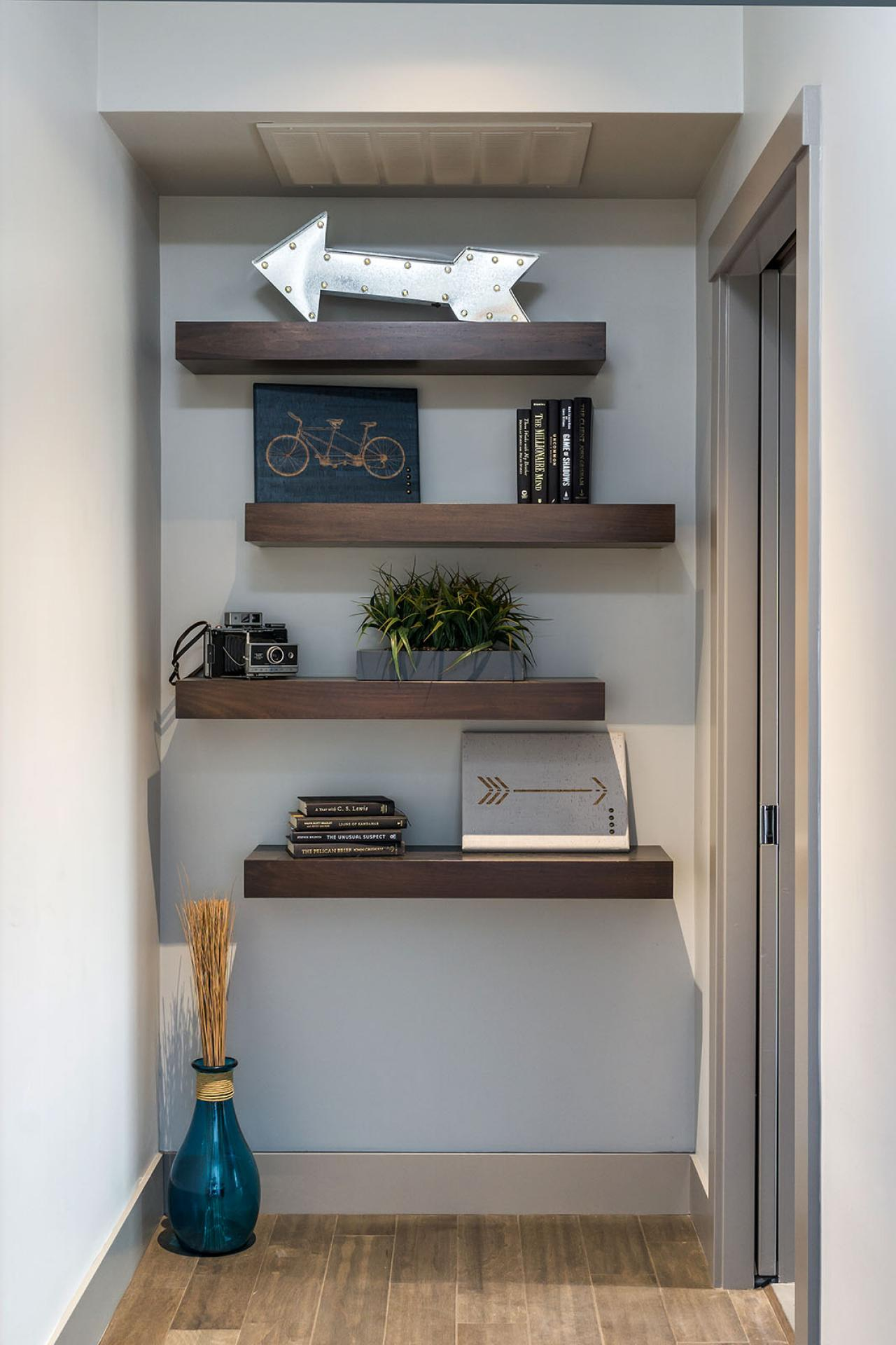ways decorate with floating shelves decorating large wall decorative contemporary hallway metal shelf small black desk office between the studs bathroom cabinet vanity media