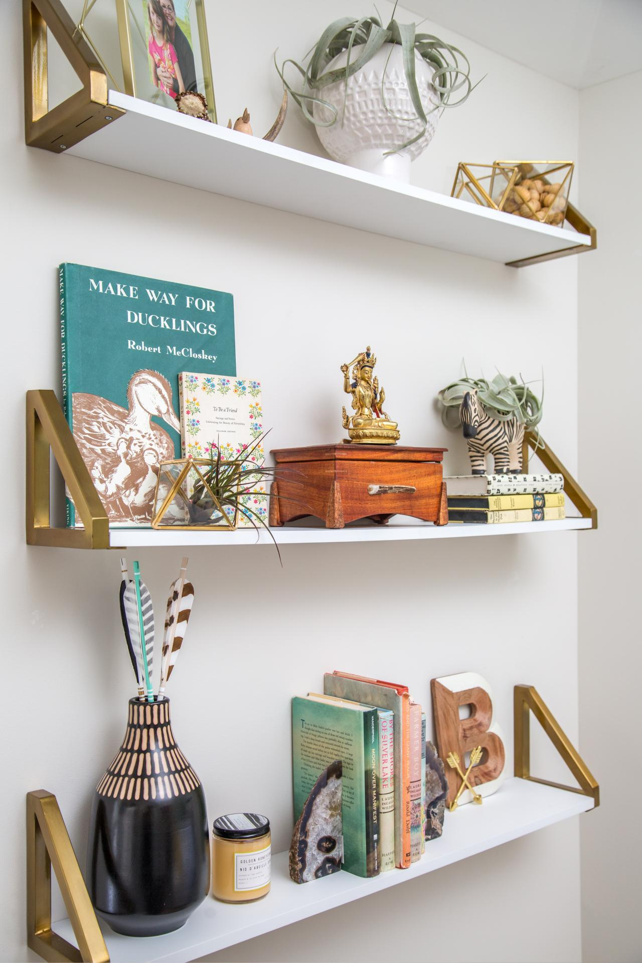 ways decorate with floating shelves decorating shelf configurations eclectic mix accessories round support pins heavy duty wall brackets for countertops corner display shoe