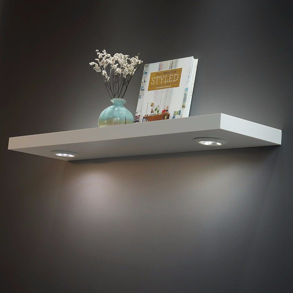 welland floating wall shelf with led lights white shelves lighting computer desk elbow elastilon strong reviews vintage coat hanger ledge moulding granite island brackets ikea