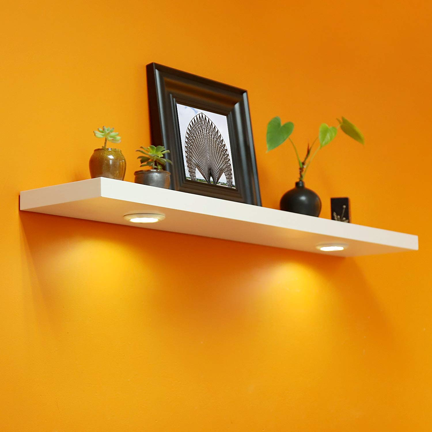 welland inch floating shelf with touch sensing wall lights battery powered led shelves for entrance living room bedroom kitchen and bathroom entry hall coat hooks cupboard storage