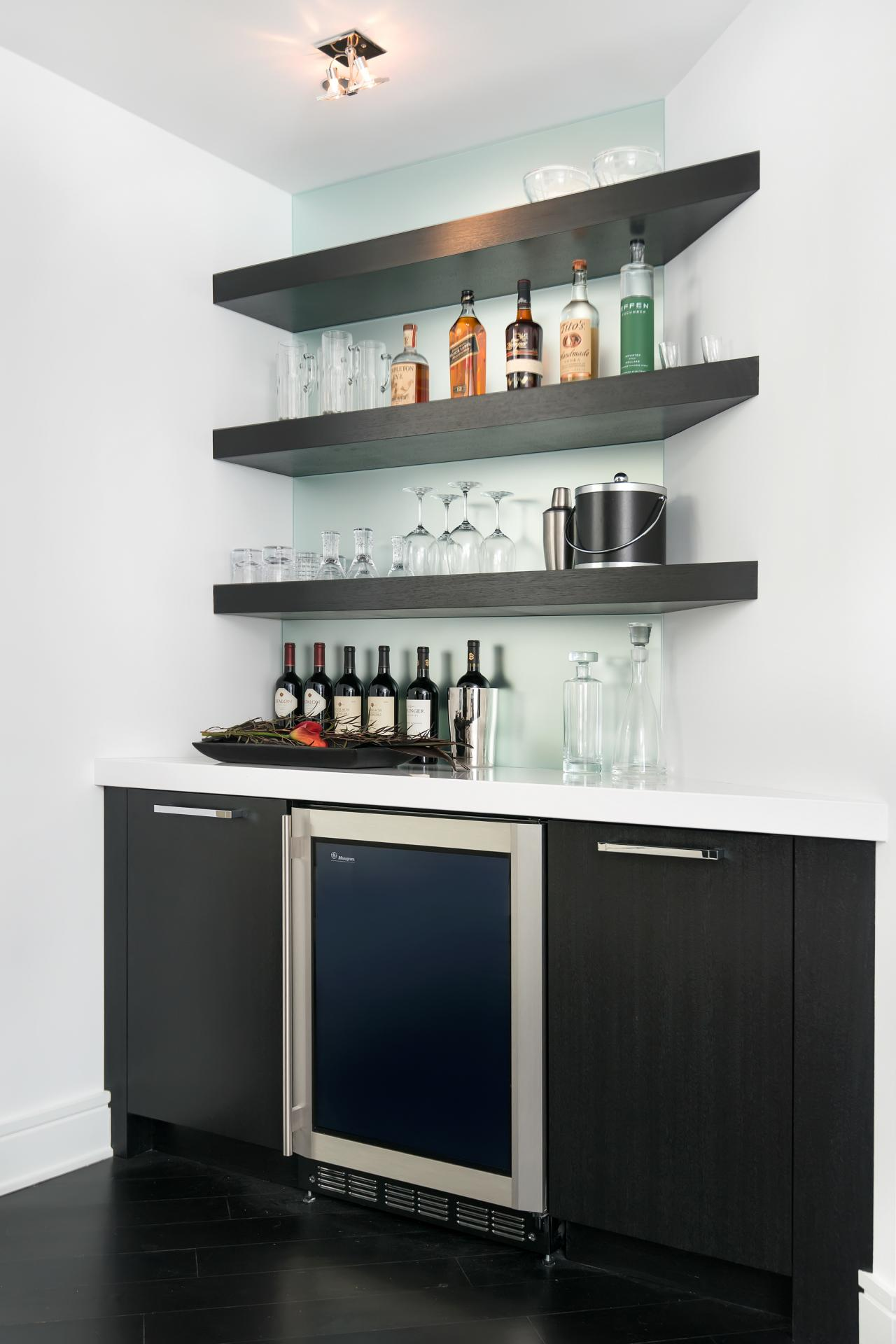 wet bar with floating shelves behind garage shelving racks wooden bathroom unit ikea tall shelf media storage stand small marble built bookcase ideas desk combo drawing narrow