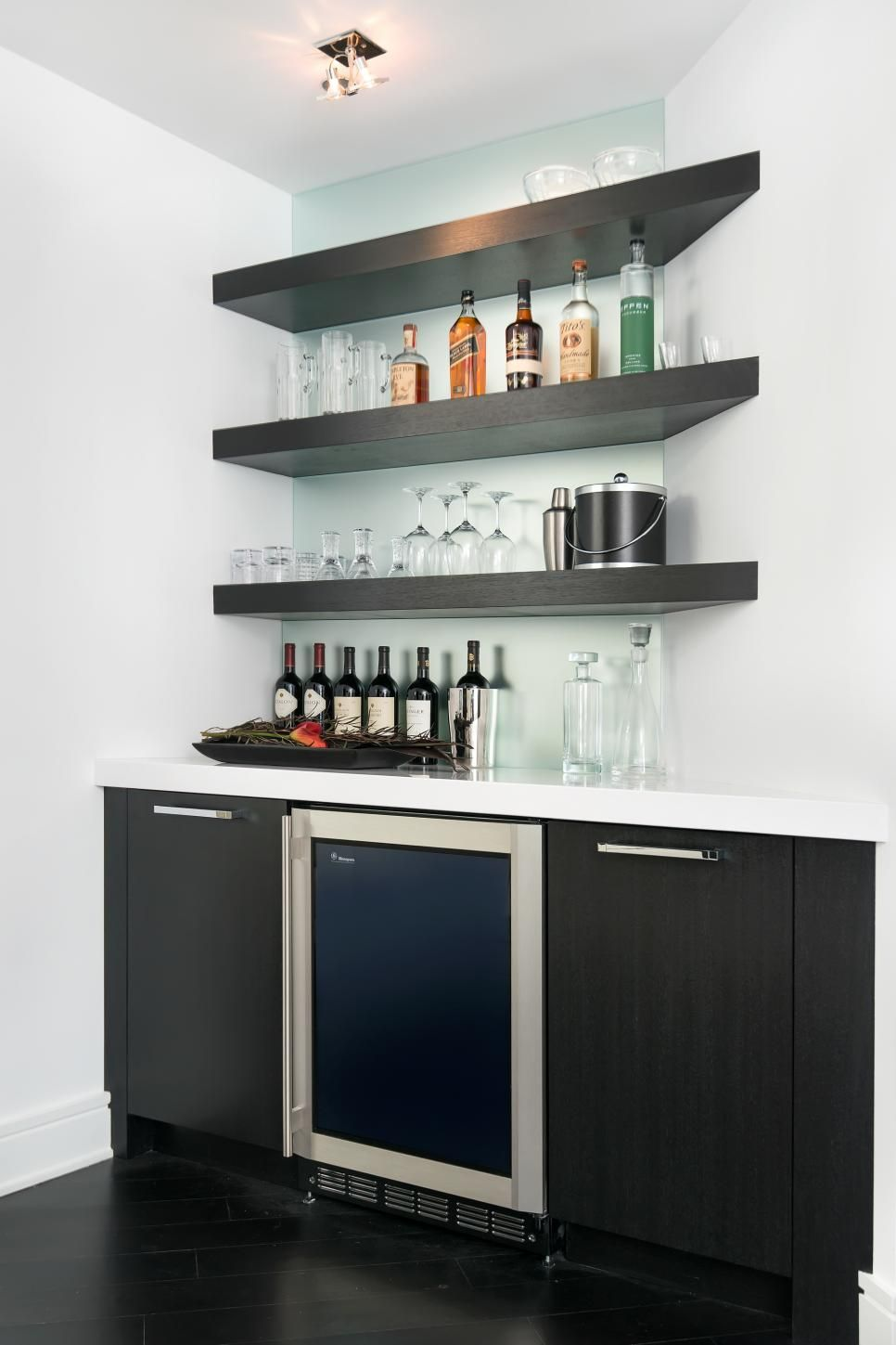 wet bar with floating shelves home ideas basement designs shelf depth wall mounted oak bookcase book desk brackets wickes pull out bunnings floor kit for small bedrooms using