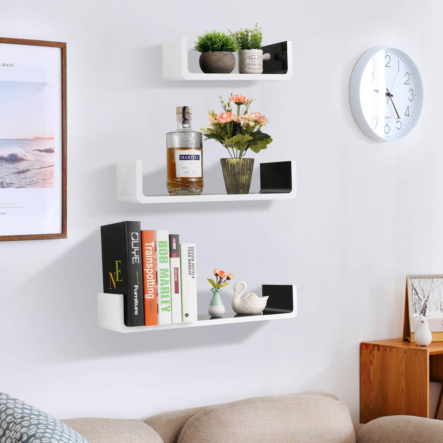 white and black wall shelves floating wooden qal bathroom shelving bookshelf storage set shape mount bookcase for living room stone fireplace shelf hand forged brackets diy shower