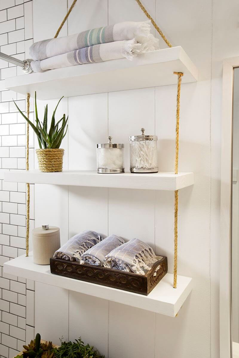 white floating shelves with twine homebnc hanging bathroom storage ideas cutting board island garage workbench and high gloss shelving unit jysk what wall shelf solid oak