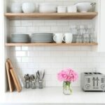 white kitchen open shelves home decor floating coat stand and shoe rack shelving towel storage unit closet pole height ikea infinity mounting heavy objects drywall cupboard boxes 150x150
