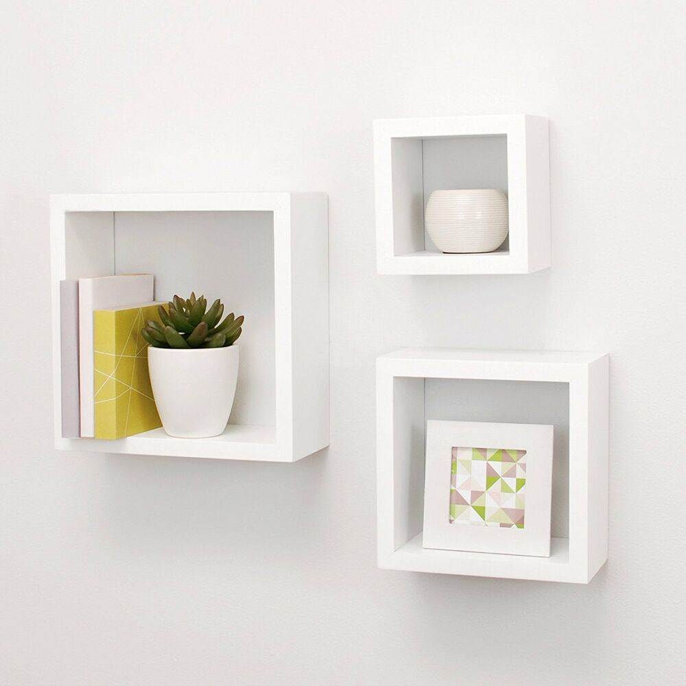 white square wall mounted shelf pack contemporary cube floating details about wood display how strong are command strips bookcase with glass doors deep bookshelf living room decor