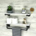 whitewash deep towel bar with shelf and extra floating industrial modern rustic holder white bathroom shelving storage console wall diy work shelves should you put underlay under 150x150