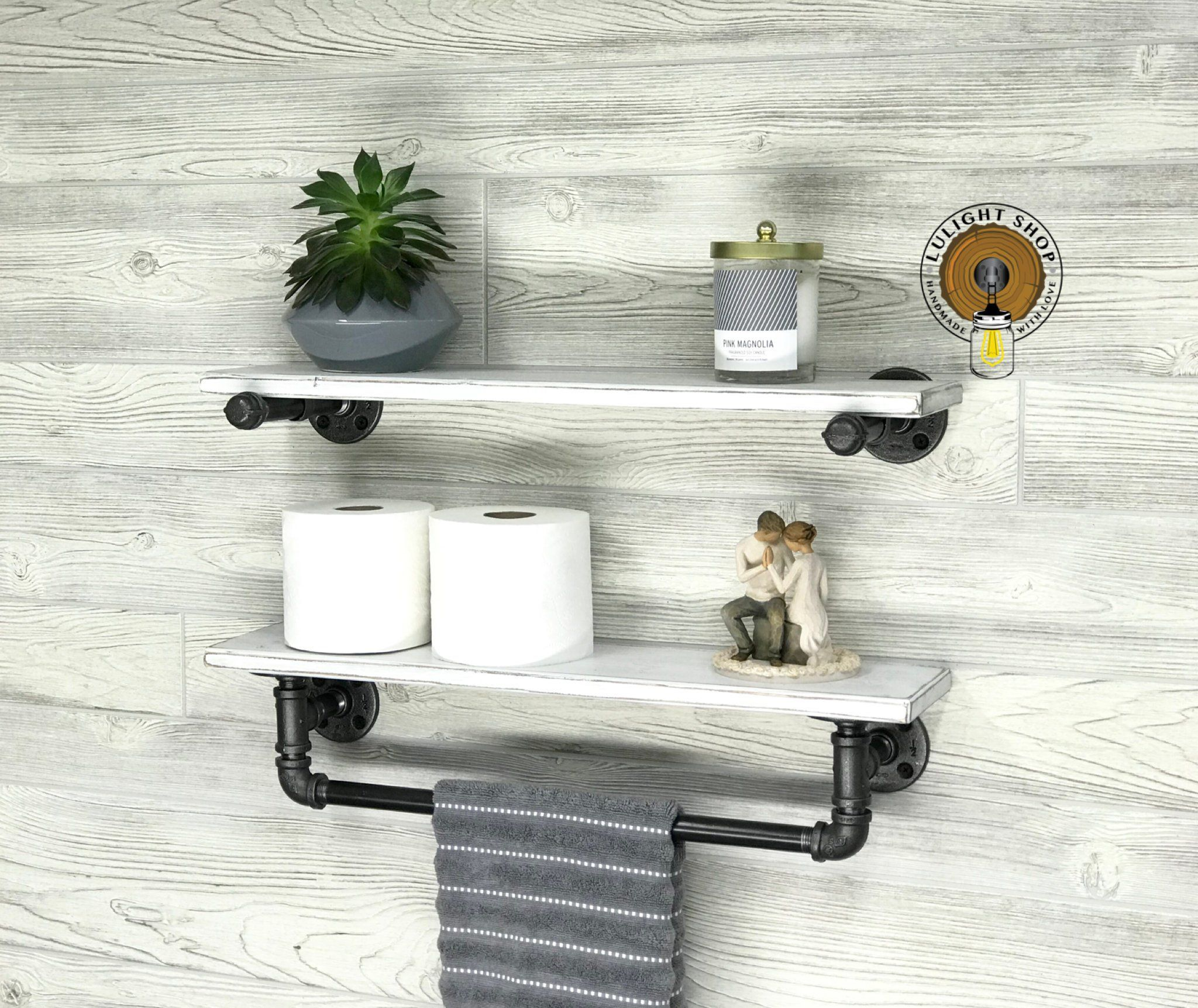 whitewash deep towel bar with shelf and extra floating industrial modern rustic holder white bathroom shelving storage console wall diy work shelves should you put underlay under