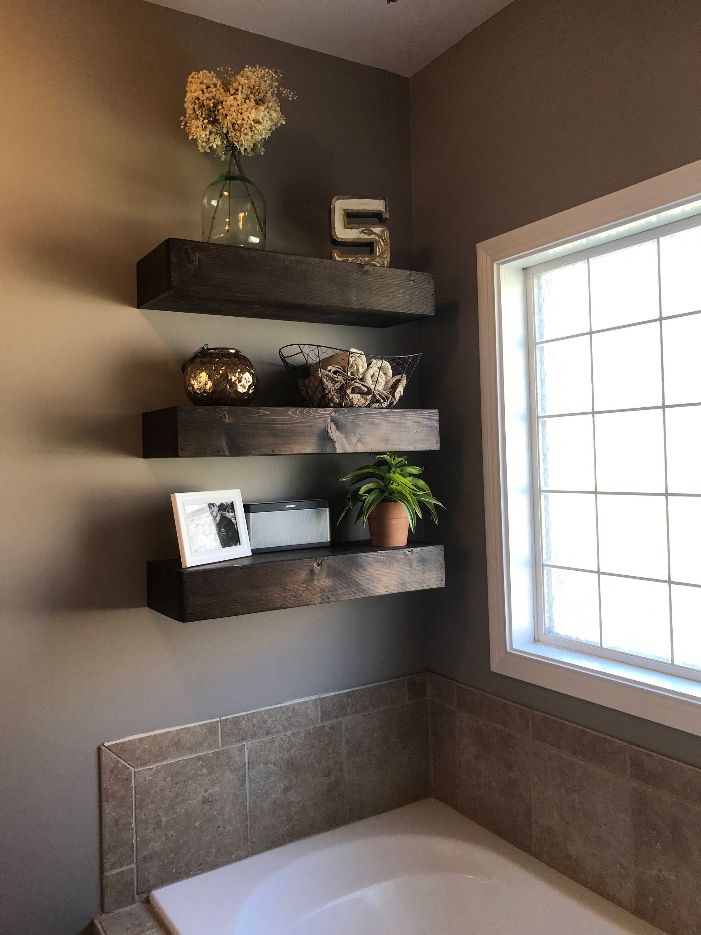 wood floating shelf shelves rustic bathroom etsy fullxfull decor black gloss with glass doors peel and stick vinyl flooring over concrete timber vanity wall toilet decking lights