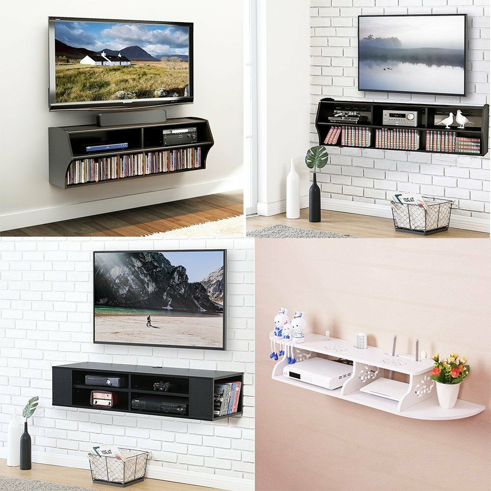 wood wall mount floating media center stand shelf console shelves for electronics details about dvd storage small mountable player stereo component inch corner sneaker solutions