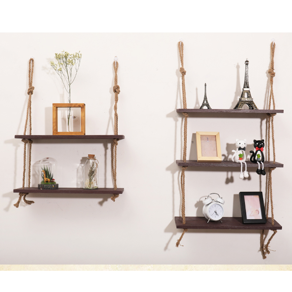 wooden hanging shelf swing rope floating shelves tier jute wall display rack dark brown wood fire mantle laying vinyl sheet flooring over existing storage bench hooks pine
