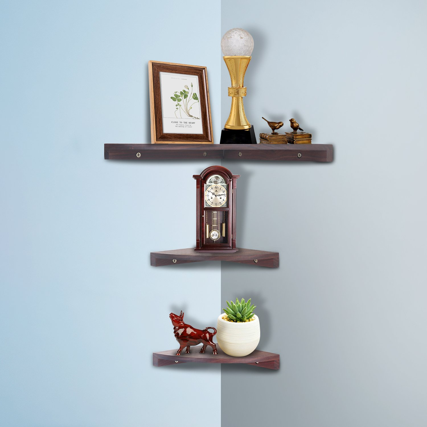 yankario solid walnut wood corner floating shelves wall mounted shelf set natrual home kitchen shoe ideas tures ikea invisible pre built mantels computer desks video shelving
