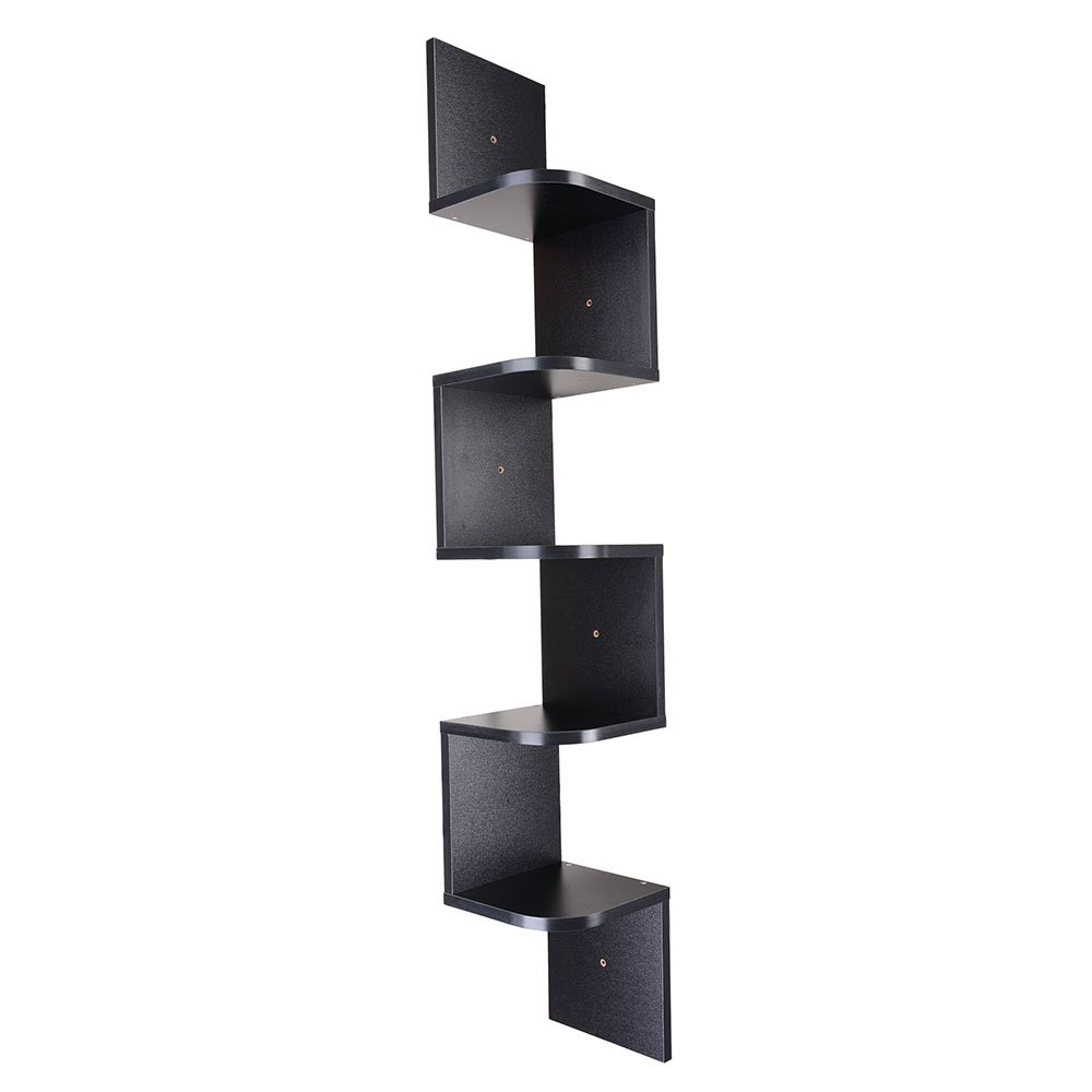 yescom tiers zig zag floating wall mount corner shelf mounted wooden display shelves storage organizer with gradienter black home kitchen brackets toronto computer desk bookcase