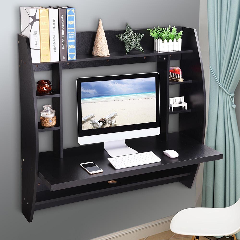 yescomusa wall mounted floating computer desk with storage shelves shelf laptop home office furniture work black reclaimed wood diy television component damage free hanging strips