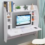 yescomusa wall mounted floating computer desk with storage shelves shelf laptop home office furniture work white small bathroom standing hanging cabinet over toilet underlay for 150x150