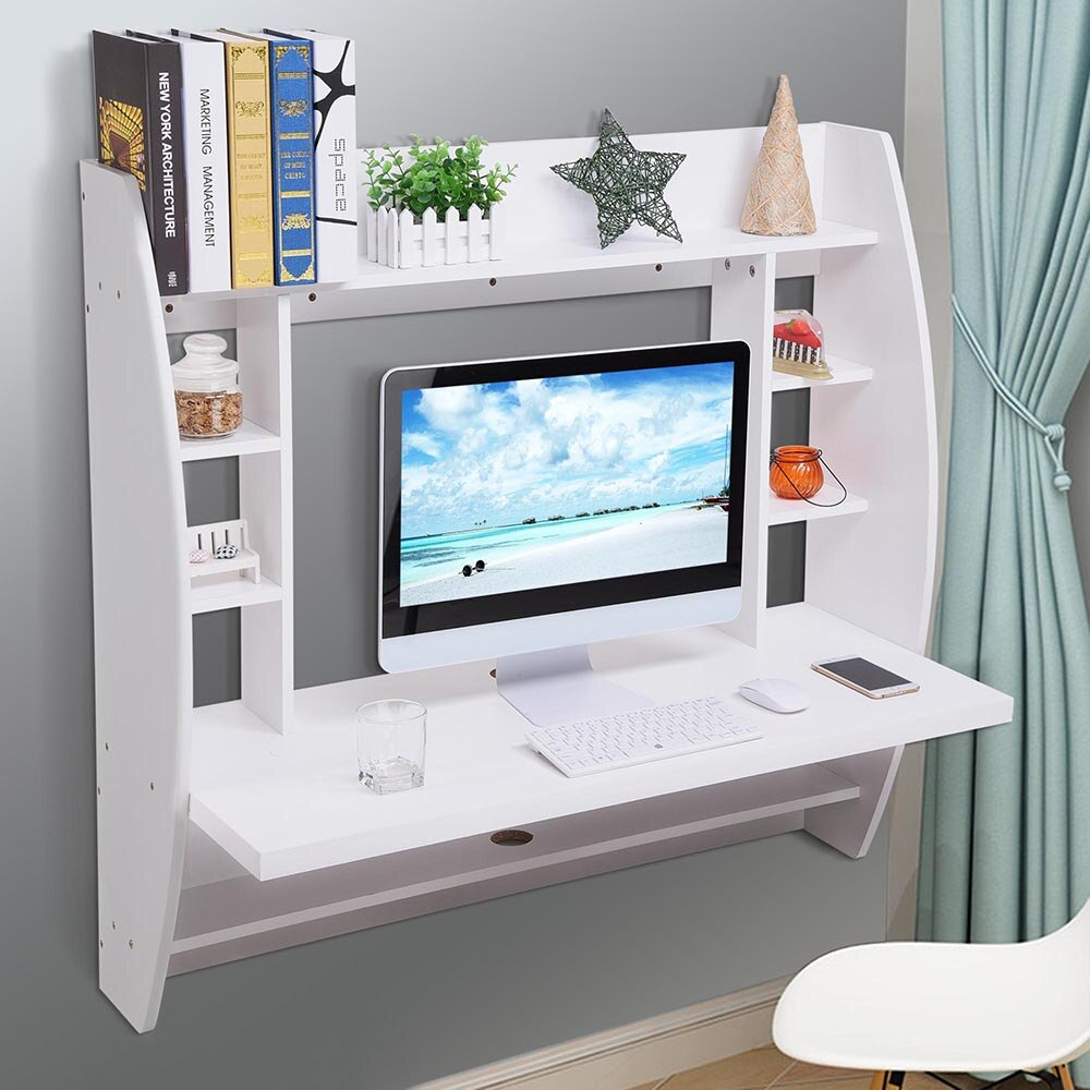 yescomusa wall mounted floating computer desk with storage shelves shelf laptop home office furniture work white small bathroom standing hanging cabinet over toilet underlay for