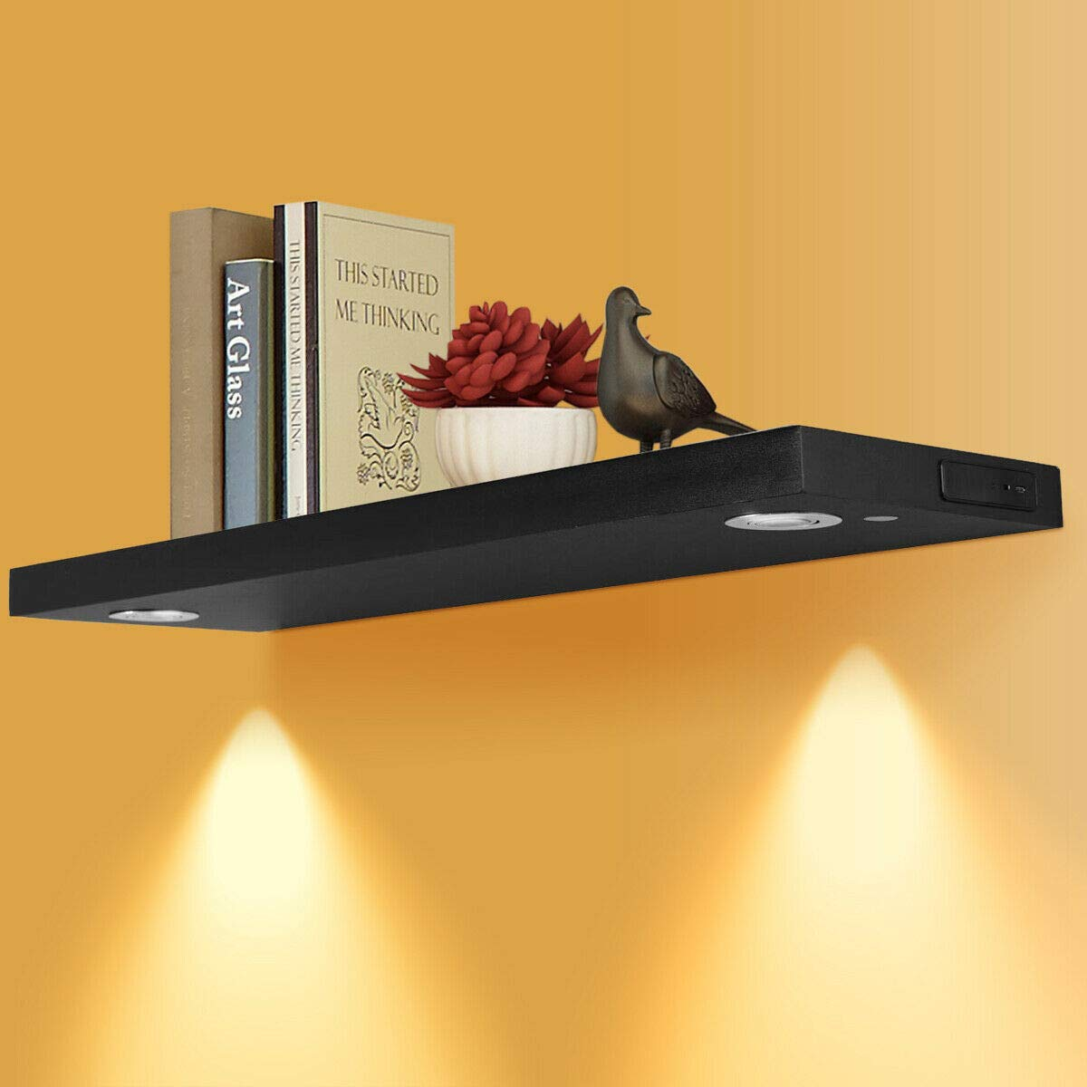 zon floating wall mounted shelf with led lights black upgraded version built rechargeable battery powered light intensity control energy saving wood corner closet shelves screwfix